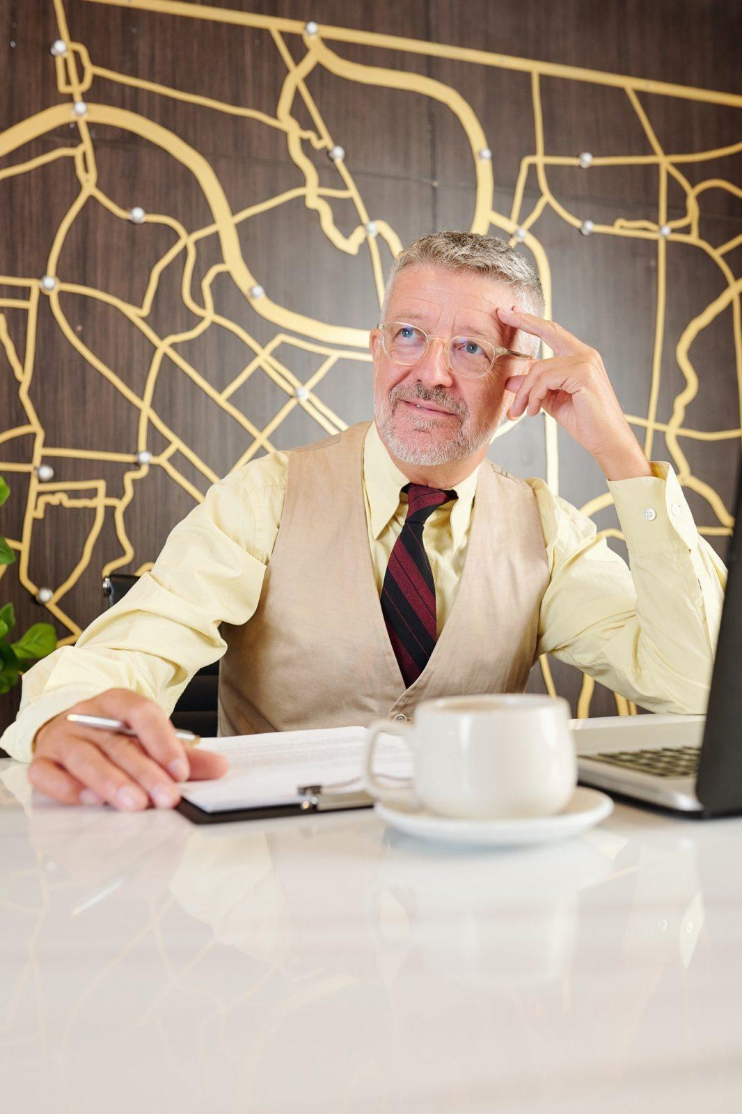 Man working on business plan